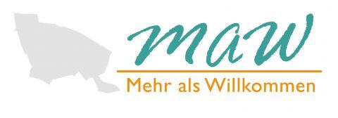 """Logo des Projekts """"Mehr als Willkommen"""" mit Umriss von Prenzlauer Berg"""